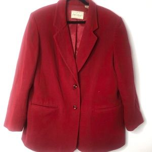 Lord & Taylor wool cashmere red peacoat